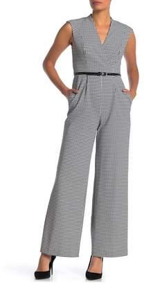 Calvin Klein Surplice Neck Houndstooth Print Jumpsuit