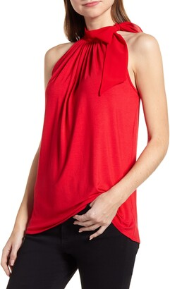 Loveappella Loveapella Side Tie Halter Neck Blouse