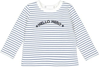 La Redoute Collections Striped Slogan Sweatshirt with Press-studs at Back, Prem-2 Years