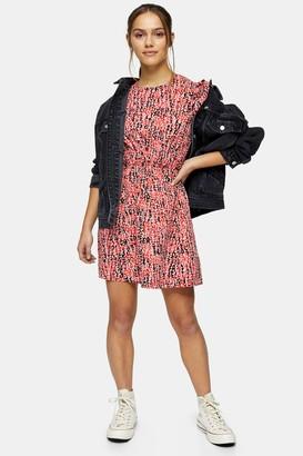 Topshop Womens Petite Red Animal Print Puff Sleeve Mini Dress - Red