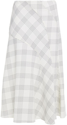 Cédric Charlier Checked Wool-blend Crepe Skirt