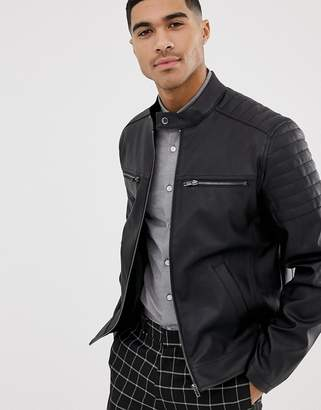 Asos Design DESIGN faux leather jacket with quilting-Black