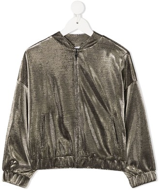 Karl Lagerfeld Paris Metallic Bomber Jacket