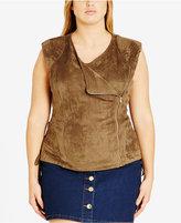 City Chic Trendy Plus Size Faux-Suede Moto Vest