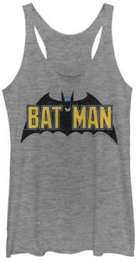 Fifth Sun Dc Batman Classic Text Bat Logo Tri-Blend Women's Racerback Tank