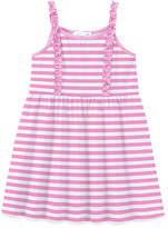Basics By Sunshine Swing Basics by Sunshine Swing Girls' Casual Dresses - Pink Stripe Ruffle-Accent Sleeveless Shift Dress - Toddler & Girls