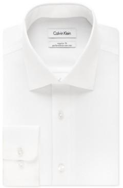 Calvin Klein Steel Men's Classic-Fit Non-Iron Performance Herringbone Spread Collar Dress Shirt