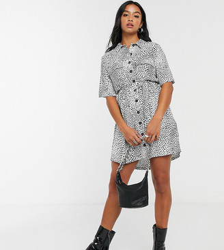 Topshop Petite grunge shirt dress in mono