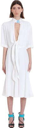 Off-White Crepe Romantic Dress In White Tech/synthetic