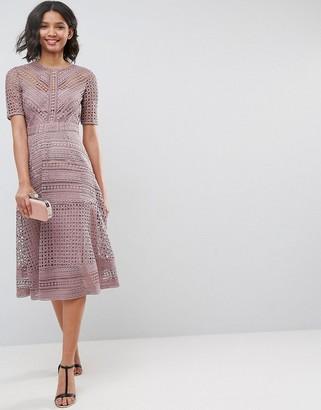 Asos Design DESIGN premium occasion lace midi dress-Brown