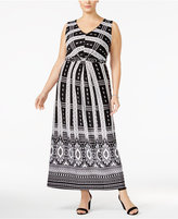 NY Collection Plus Size Printed Knot-Front Maxi Dress