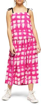 Topshop Check Print Midi Dress