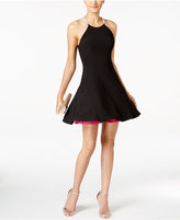 Betsy & Adam Rhinestone Halter Fit & Flare Dress