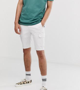 Asos Design DESIGN Tall super skinny cargo shorts in white