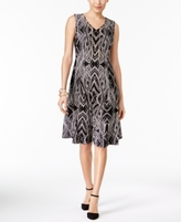 JM Collection Petite Printed Chain-Detail Fit & Flare Dress, Created for Macy's