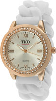 JCPenney TKO ORLOGI Womens Crystal-Accent Chain-Link White Silicone Strap Stretch Watch