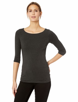 Majestic Filatures Women's Soft Touch Marrow Edge 3/4 Boatneck