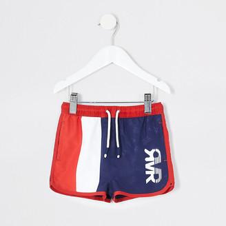 River Island Mini boys navy stripe RVR swim shorts