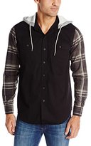 Company 81 Men's Camping Shirt with Plaid Sleeves and Fleece Hood