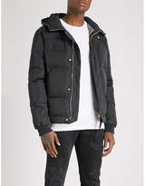 True Religion Mens Night Blue Hooded Quilted Shell-Down Jacket