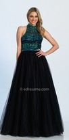 Dave and Johnny High Collar Sequin Aztec Ball Gown