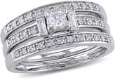 Julie Leah 3/5 CT TW Diamond 14K White Gold 3-Piece Side Accented Bridal Set