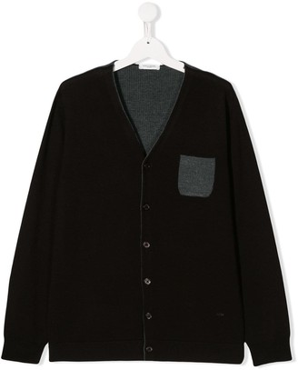 Paolo Pecora Kids TEEN two tone knitted cardigan