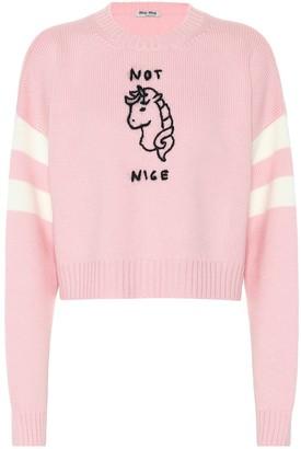 Miu Miu Not Nice cropped wool sweater