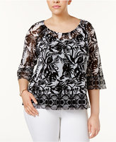 INC International Concepts Plus Size Bell-Sleeve Printed Top, Created for Macy's