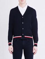 Moncler Gamme Bleu Stripe-trim cashmere and silk-blend cardigan