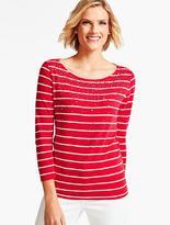 Talbots Three-Quarter-Sleeve Tee-Beaded Stripes