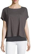 Eileen Fisher Short-Sleeve Poncho Box Top, Yarrow