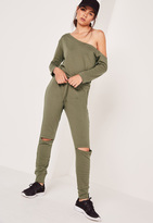 Missguided Off The Shoulder Romper Khaki