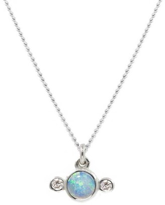 Lee Renee Opal & Diamond Necklace Silver