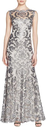 Tadashi Shoji Women's Sequined Sleeveless Gown with Illusion Neckline