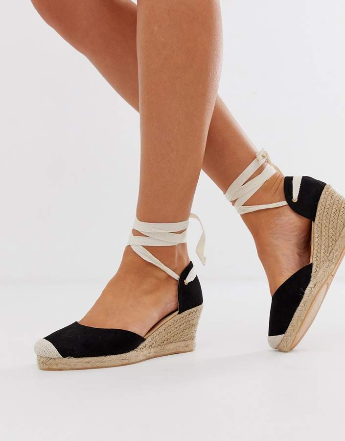 5a1ca4f81aa espadrille wedges with ankle tie in black