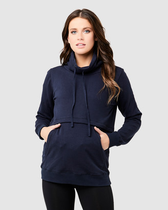 Ripe Maternity Women's Navy Hoodies - Joey Nursing Jumper - Size One Size, XS at The Iconic