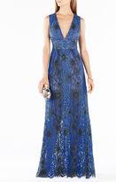 BCBGMAXAZRIA Yana Two-Tone Floral Lace Gown
