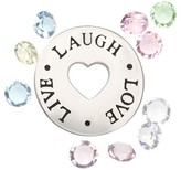 "Treasure Lockets Silver Plated ""Live, Laugh, Love' Charms with Crystals - Multicolor"
