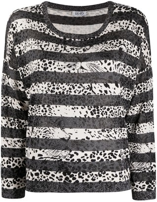 Liu Jo Striped Leopard-Print Top