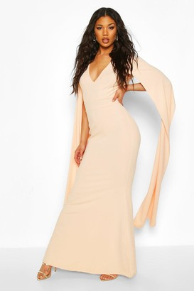 boohoo Cape Sleeve Fishtail Maxi Dress