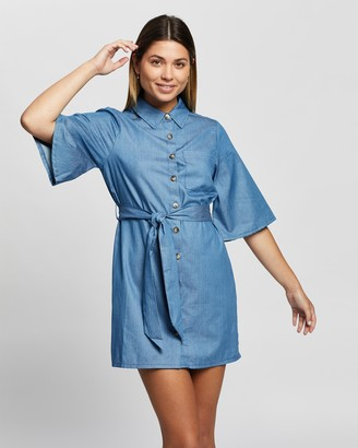 Atmos & Here Atmos&Here - Women's Blue Mini Dresses - Sienna Mini Dress - Size 6 at The Iconic