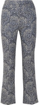 Erdem Valary Floral-jacquard Flared Pants - Gray