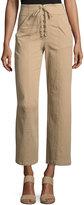 A.L.C. Kyt High-Waist Lace-Front Pants, Khaki