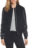 Mackage Women's Leather Sleeve Varsity Jacket