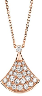 Bvlgari Divas' Dream 18K Rose Gold & Diamond Pave Pendant Necklace