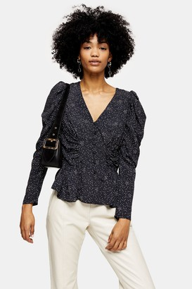 Topshop Womens Black And White Star Puff Sleeve Blouse - Monochrome