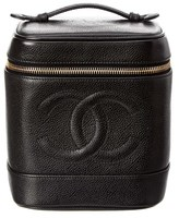 Chanel Black Caviar Leather Cc Vanity Case.