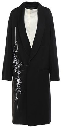 Haider Ackermann Embroidered Satin Twill-paneled Wool Coat