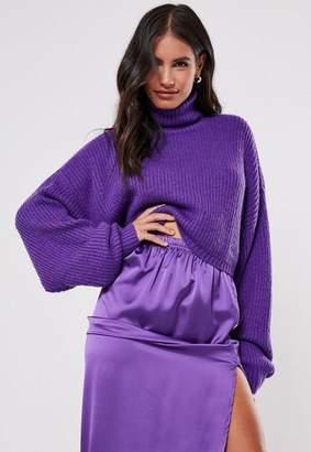 Missguided Premium Purple Cropped Turtle Neck Sweater